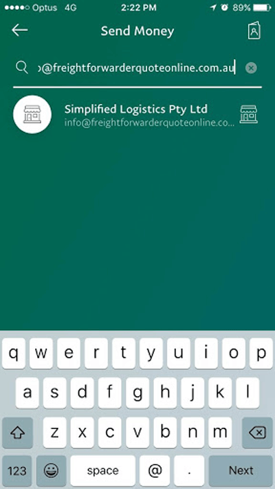 PayPal mobile enter recipient screen page for discount freight quote
