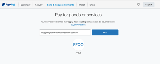 Payment recipient screen in PayPal for discount freight quote