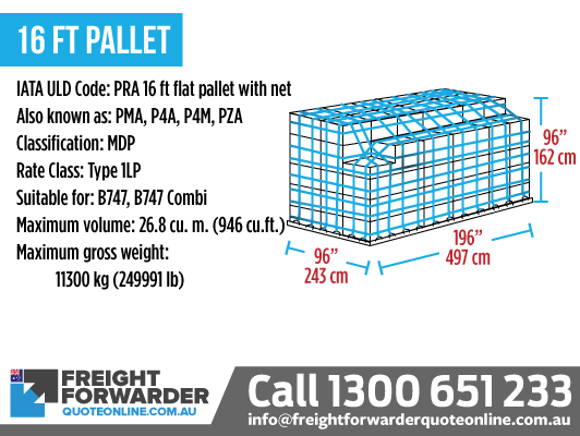 16ft Pallet (PRA 16ft Flat Pallet with Net) - Maximum volume 26.8 m3