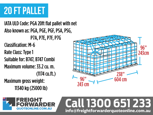 20ft Pallet (PGA 20ft Flat Pallet with Net) - Maximum volume 33.2 m3