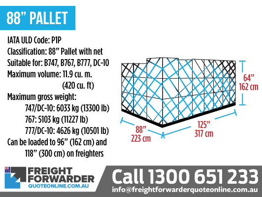"88"" Pallet (P1P) - Maximum volume 11.9 m3"