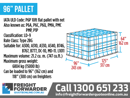 "96"" Pallet (P6P 10ft Pallet with Net) - Maximum volume 21.2 m3"