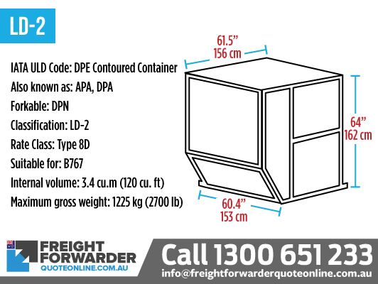 LD-2 (DPE Contoured Container) - Internal volume 3.4 m3