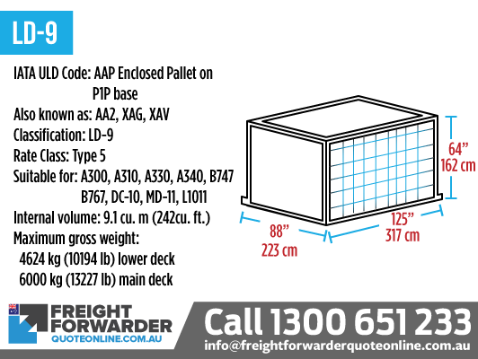 LD-9 (AAP Enclosed Pallet on P1p Base) - Internal volume 9.1 m3