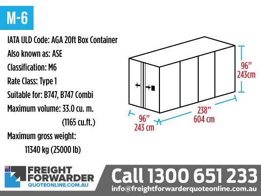M-6 (AGA 20ft Box Container) - Internal volume 33.0 m3