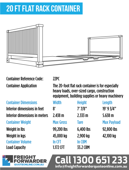 20-foot Flat rack container