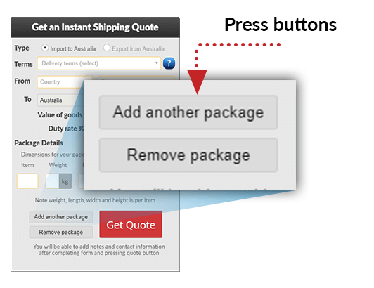 Use the buttons to add and remove sets of parcels to the shipment.