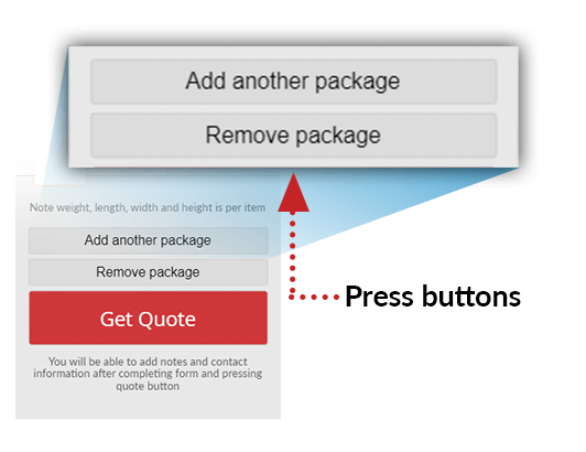 Press the buttons to add and remove packages